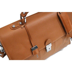Floto Venezia Saffiano Leather Laptop Briefcase in Brown