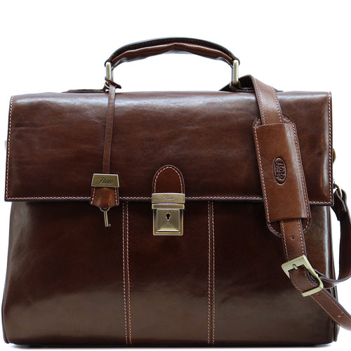 Floto Venezia Leather Laptop Briefcase in Brown