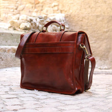 Load image into Gallery viewer, Leather English Briefcase Messenger Bag Floto Firenze back tuscany