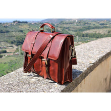 Load image into Gallery viewer, Leather English Briefcase Messenger Bag Floto Firenze Tuscany