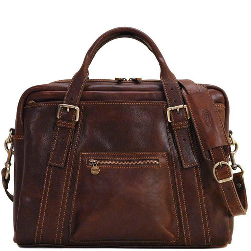 Floto Italian leather slim briefcase men's messenger bag Procida