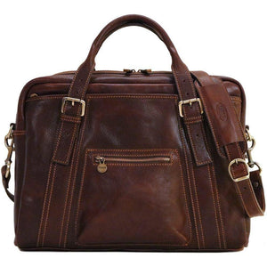 Floto leather slim briefcase procida