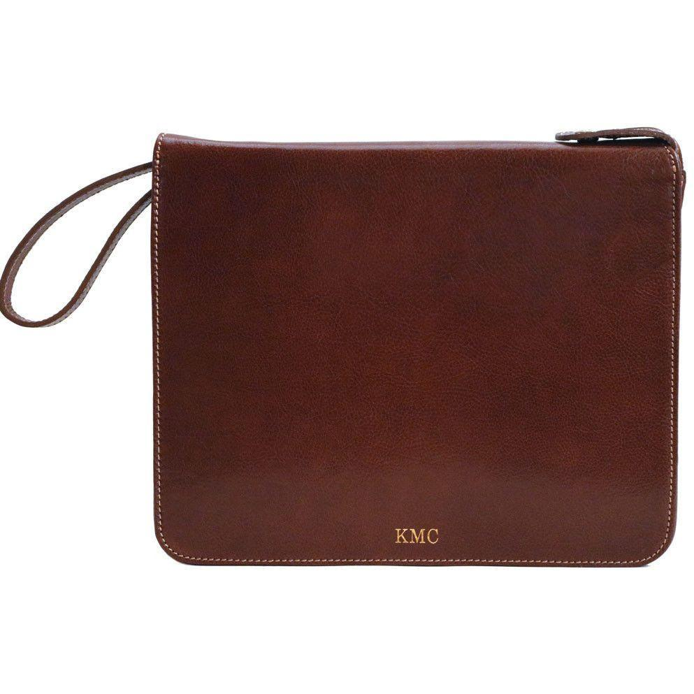 monogram Floto leather laptop case portfolio padfolio brown