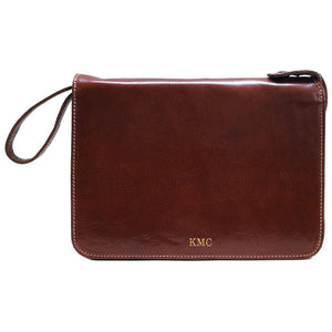 Monogram Floto leather tablet case portfolio padfolio brown
