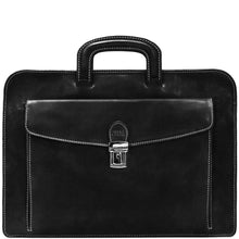 Load image into Gallery viewer, leather laptop sleeve milano portfolio floto black