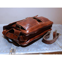 Load image into Gallery viewer, Leather Messenger Bag Floto Roma Roller Buckle bottom
