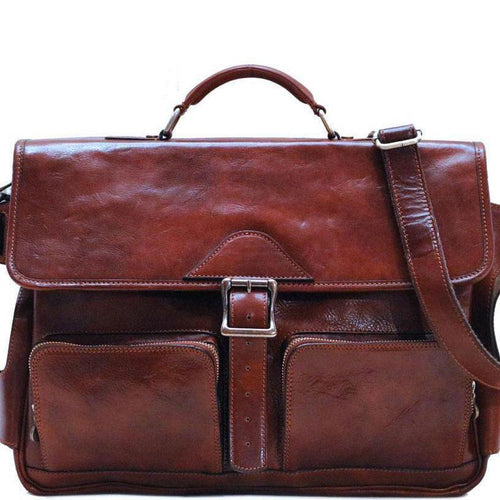 Leather Messenger Bag Floto Roma Roller Buckle front