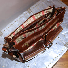Load image into Gallery viewer, Leather Messenger Bag Floto Roma Roller Buckle inside