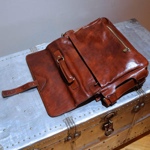 Leather Messenger Bag Floto Roma Roller Buckle