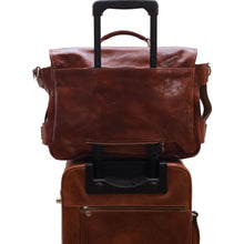 Load image into Gallery viewer, Leather Messenger Bag Floto Roma Roller Buckle trolley