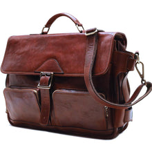 Load image into Gallery viewer, Leather Messenger Bag Floto Roma Roller Buckle side