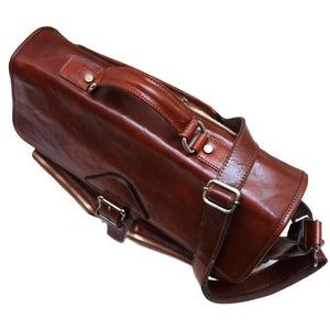 Leather Messenger Bag Floto Roma Roller Buckle top