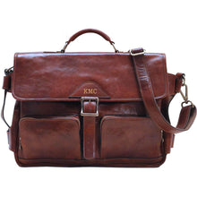 Load image into Gallery viewer, Leather Messenger Bag Floto Roma Roller Buckle monogram