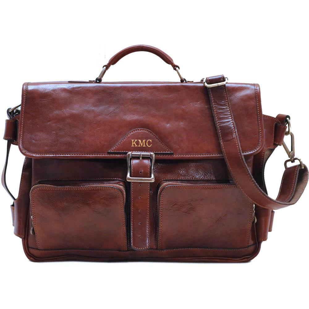 Leather Messenger Bag Floto Roma Roller Buckle monogram