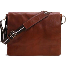 Load image into Gallery viewer, leather messenger bag satchel floto siena vecchio brown