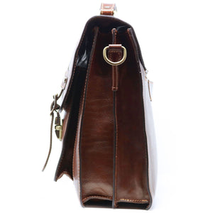 Italian Leather Messenger Bag Floto Trastevere Roller Buckle Briefcase Brown 3
