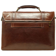 Load image into Gallery viewer, Italian Leather Messenger Bag Floto Trastevere Roller Buckle Briefcase Brown 4