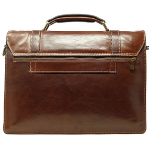 Italian Leather Messenger Bag Floto Trastevere Roller Buckle Briefcase Brown 4