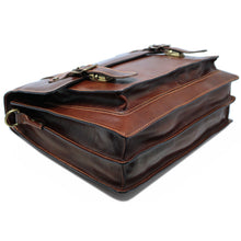 Load image into Gallery viewer, Italian Leather Messenger Bag Floto Trastevere Roller Buckle Briefcase Brown 7