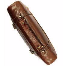 Load image into Gallery viewer, Italian Leather Messenger Bag Floto Trastevere Roller Buckle Briefcase Brown 9
