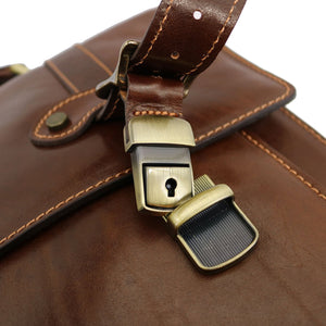 Italian Leather Messenger Bag Floto Trastevere Roller Buckle Briefcase Brown 6