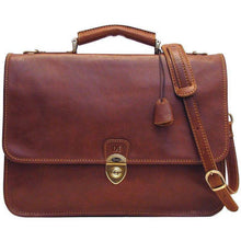 Load image into Gallery viewer, leather briefcase messenger bag floto monogram