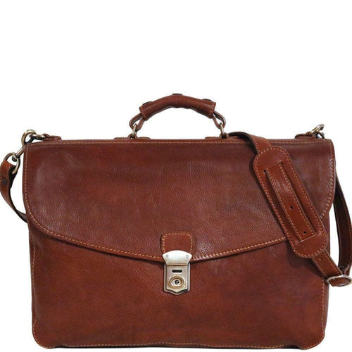 floto leather briefcase messenger bag saddle brown