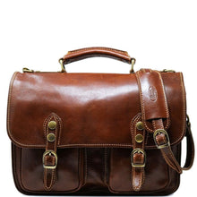 Load image into Gallery viewer, Italian Leather Briefcase Messenger Bag Floto Poste brown
