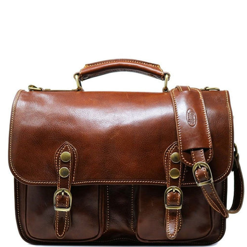 Italian Leather Briefcase Messenger Bag Floto Poste brown