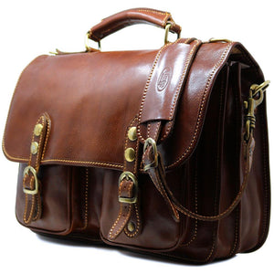 Italian Leather Briefcase Messenger Bag Floto Poste brown 2