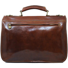 Load image into Gallery viewer, Italian Leather Briefcase Messenger Bag Floto Poste brown 6