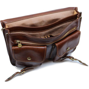 Italian Leather Briefcase Messenger Bag Floto Poste brown 3