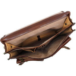 Italian Leather Briefcase Messenger Bag Floto Poste brown 4