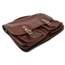 Load image into Gallery viewer, Italian Leather Briefcase Messenger Bag Floto Poste brown 8