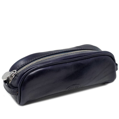 Floto Italian Leather Pencil Case blue