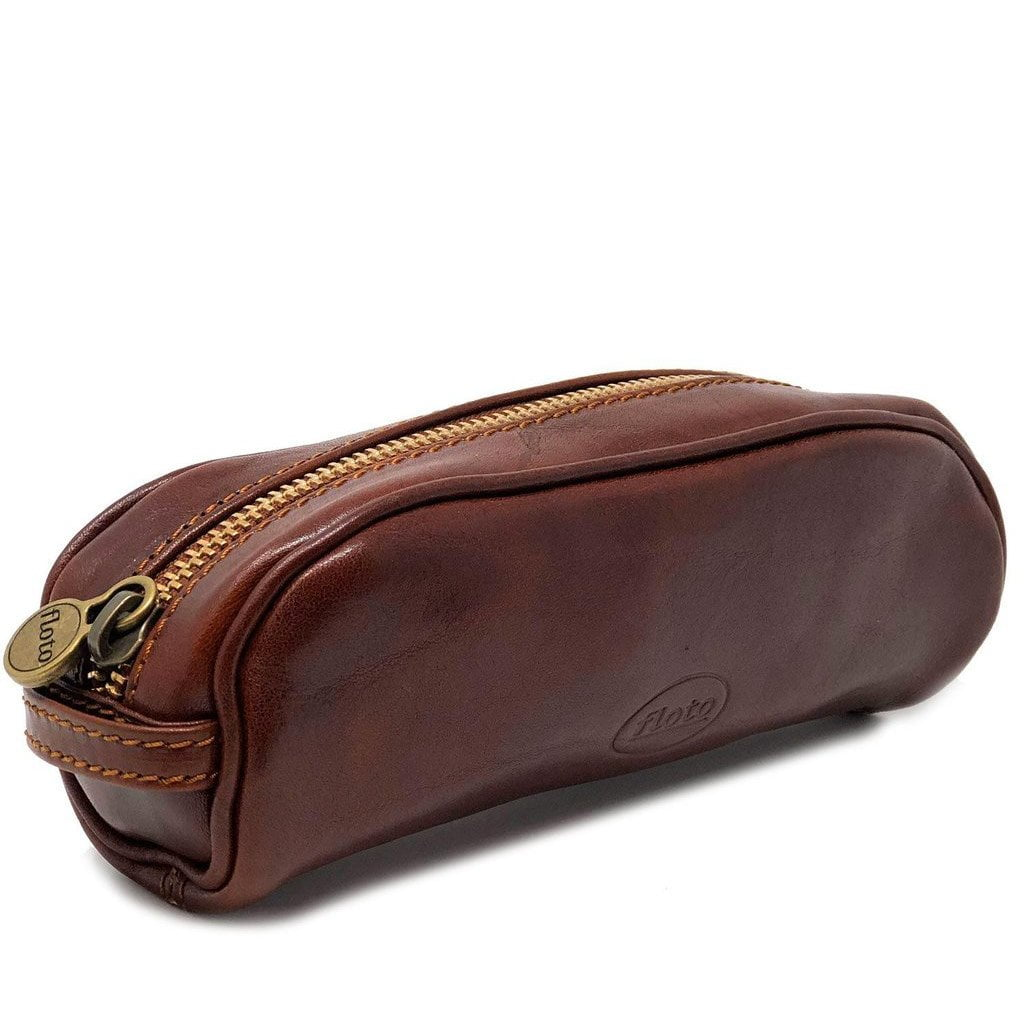 Floto Italian Leather Pencil Case brown