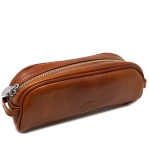 Floto Italian Leather Pencil Case olive brown
