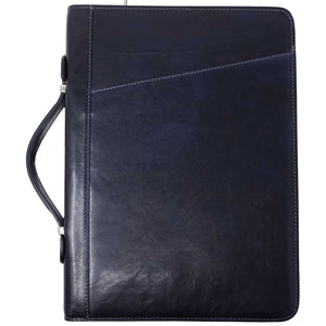 Floto Portofino Italian leather portfolio document organizer folder briefcase padfolio blue