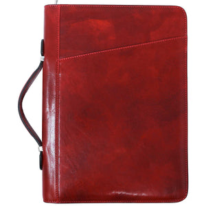 Floto Portofino Italian leather portfolio document organizer folder briefcase padfolio red