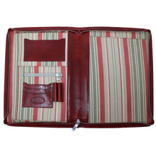 Load image into Gallery viewer, Floto Portofino Italian leather portfolio document organizer folder briefcase padfolio red inside