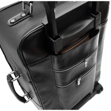Load image into Gallery viewer, Leather Rolling Luggage Floto Venezia Trolley black back