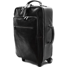 Load image into Gallery viewer, Leather Rolling Luggage Floto Venezia Trolley Black