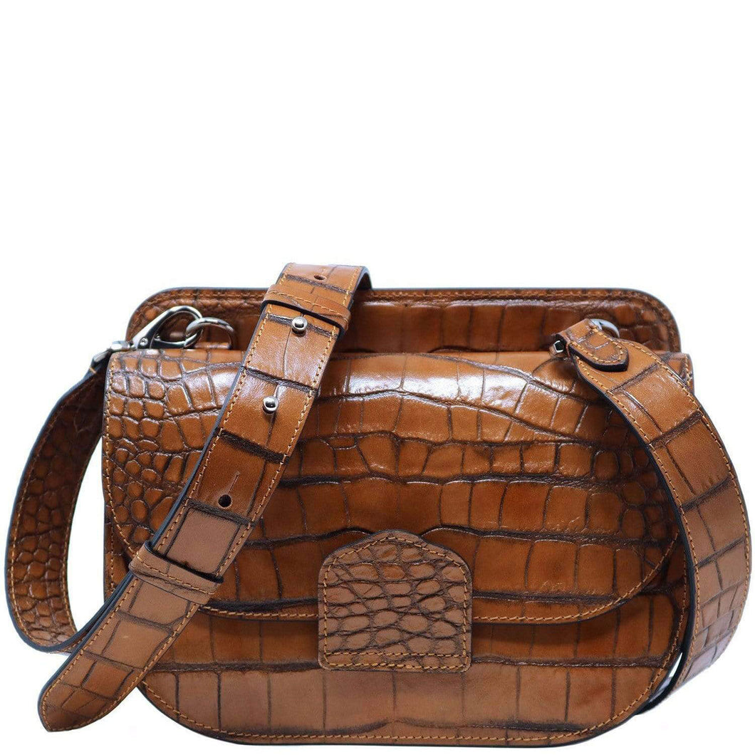 Italian leather saddle bag crossbody Floto Capri alligator brown