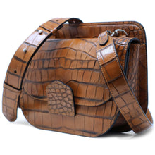 Load image into Gallery viewer, Italian leather saddle bag crossbody Floto Capri alligator 2