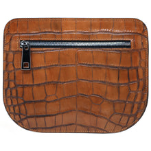 Load image into Gallery viewer, Italian leather saddle bag crossbody Floto Capri alligator 6