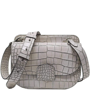 Italian leather saddle bag crossbody Floto Capri alligator white