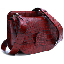 Load image into Gallery viewer, Italian leather saddle bag crossbody Floto Capri alligator 4