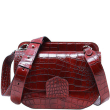 Load image into Gallery viewer, Italian leather saddle bag crossbody Floto Capri alligator red 2