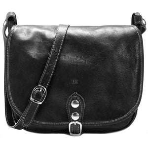 Leather Saddle Bag Floto Procida black monogram