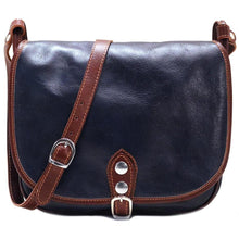 Load image into Gallery viewer, Leather Saddle Bag Floto Procida blue